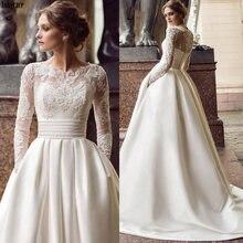 Атласные свадебные платья с длинными рукавами 2020 для невесты