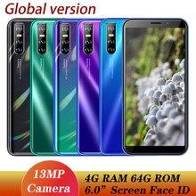 9t Global celulares Quad Core 4G RAM 64G ROM 5MP + 13MP 6.0 pouces téléphone portable Smartphones visage débloqué Android téléphones mobiles IPS