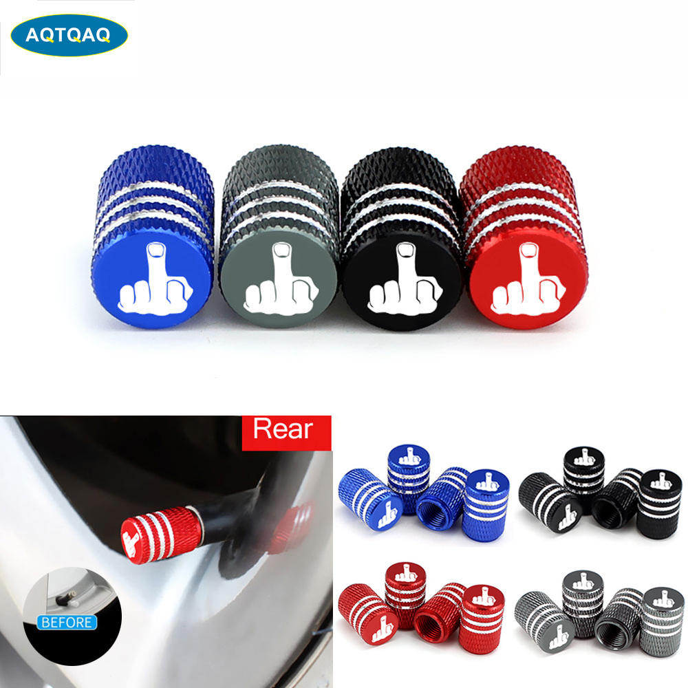 4Pcs/Set Middle Finger Tire Stem Valve Caps Aluminum Car Dustproof Caps Tire Wheel Stem Air Valve Caps