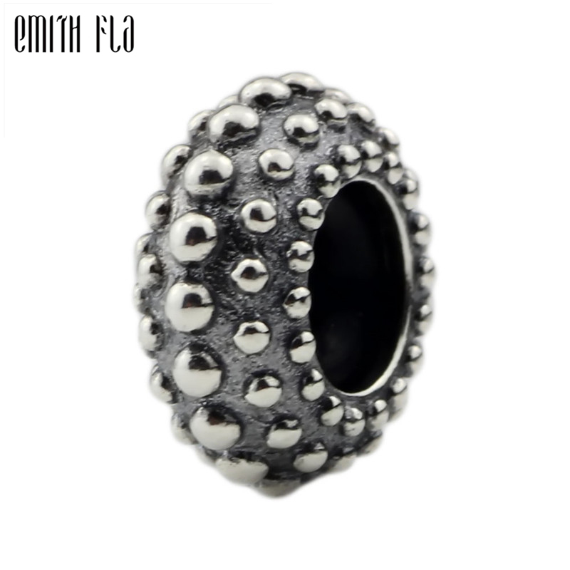 Sterling Silver Dots Round Stopper with Rubber Bead for European Charm Bracelets