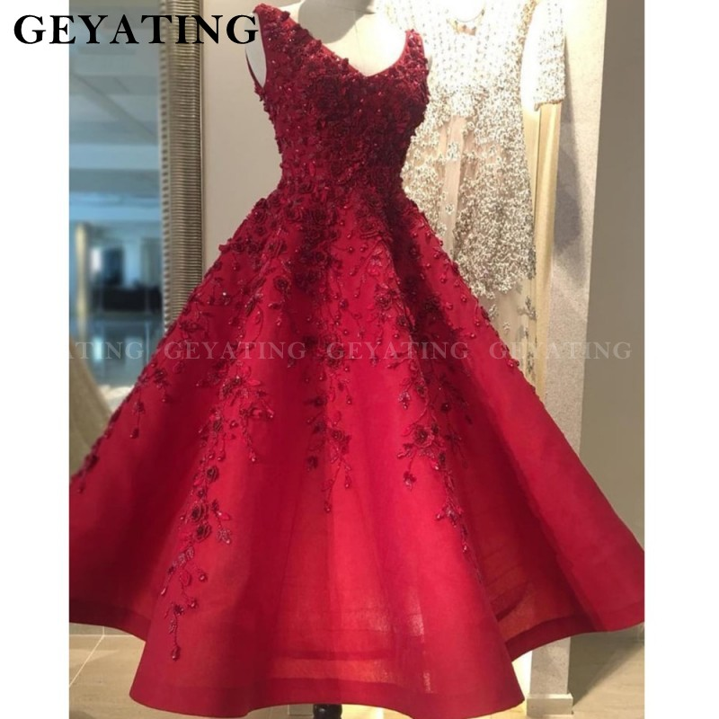 Vintage Lace Red Short Formal   Evening     Dress   2019 Embroidery Beaded 3D Floral Flower Tea Length Prom   Dresses   V Neck Party Gowns