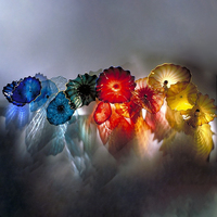 Abstract Leaf Flower Wall Art Hand Blown Glass Plate Nordic Posters Wall Sconce for Living Room