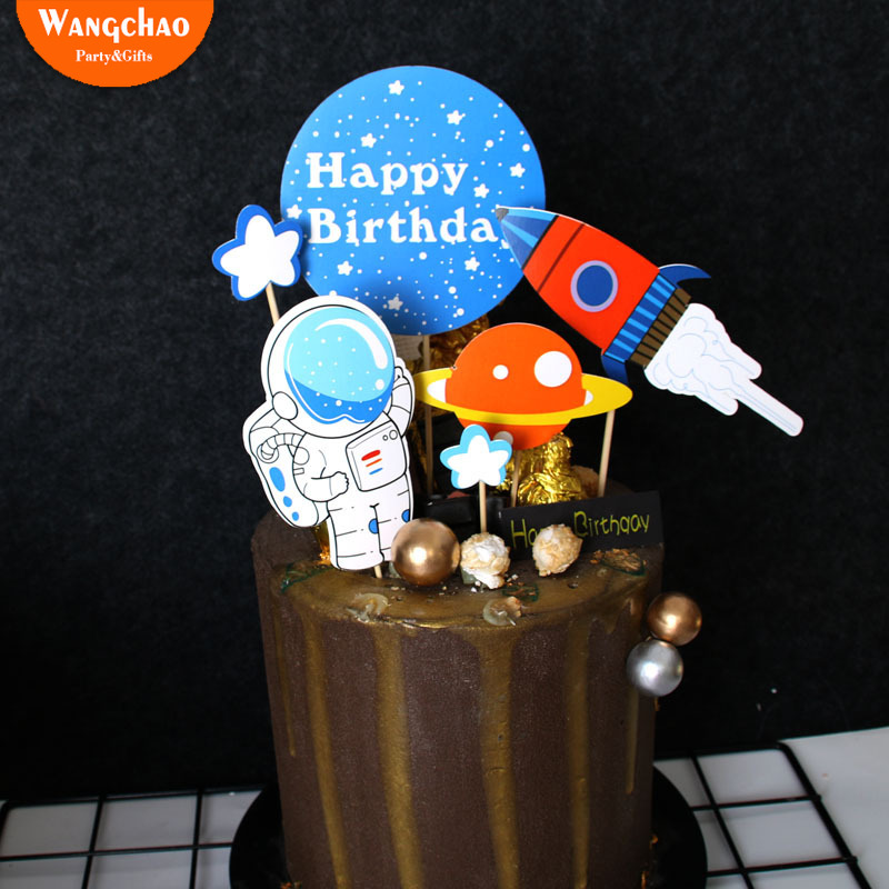 Astronaut Space Man Rocket Theme Cake Topper Kids Favors Party Supplies Boy Happy Birthday Cake Decoration baby shower