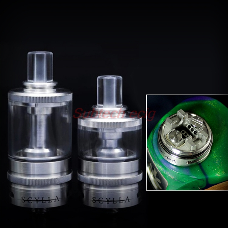 SXK Style Scylla RTA Tank 4ml 22mm 316 Stainless Steel Airflow Control System Sand Blasted Deck Single Coil Configuration Tank