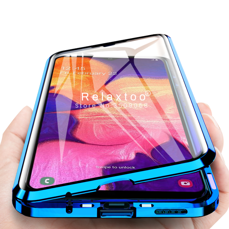 360 double-side glass <font><b>case</b></font> for <font><b>samsung</b></font> a10 metal bumper magnetic <font><b>flip</b></font> cover for <font><b>samsung</b></font> <font><b>galaxy</b></font> a51 a71 a20s a10s a20 a30 a50 <font><b>a70</b></font> image