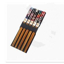 Reusable 5 Pair Set Handmade Bamboo Japanese Natural Wood Chopsticks Sushi Food Cat Flower Multi color Wooden Chop sticks