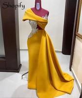Long Elegant Mermaid Evening Dress 2020 One Shoulder Sleeveless Beaded Yellow Cotton Dubai Women African Formal Gowns