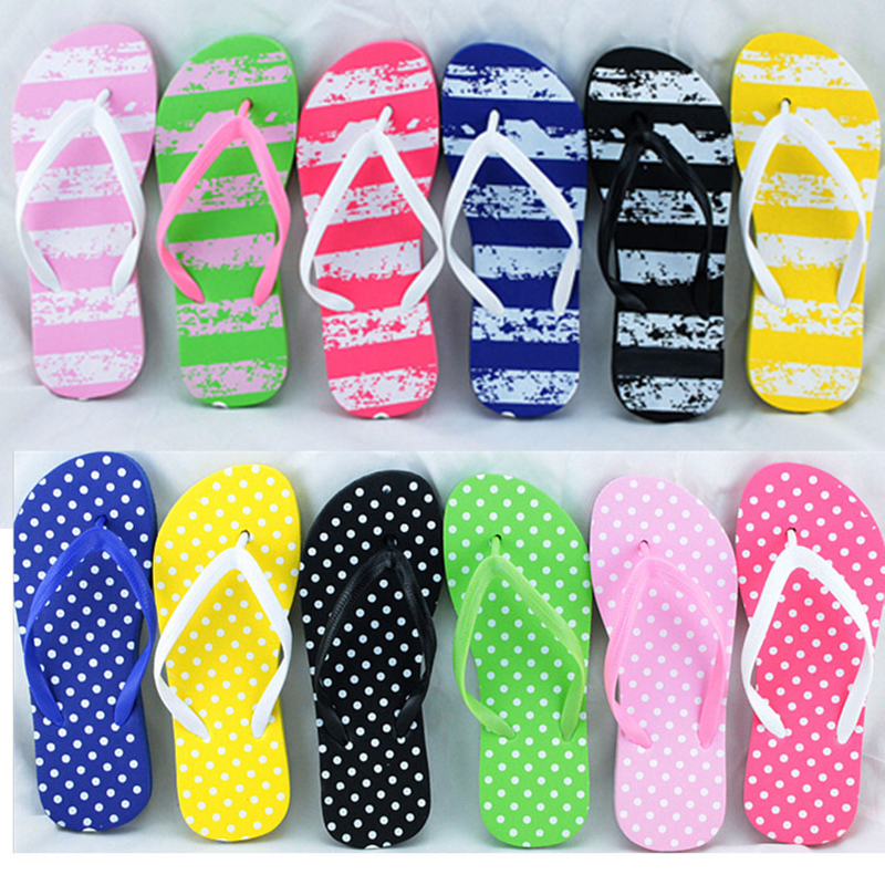 Women Slippers Beach Flip Flops Summer Flat Slippers Simple Casual Solid Anti-slip Casual Shoes Gilrs Summer Dot Female Sandals