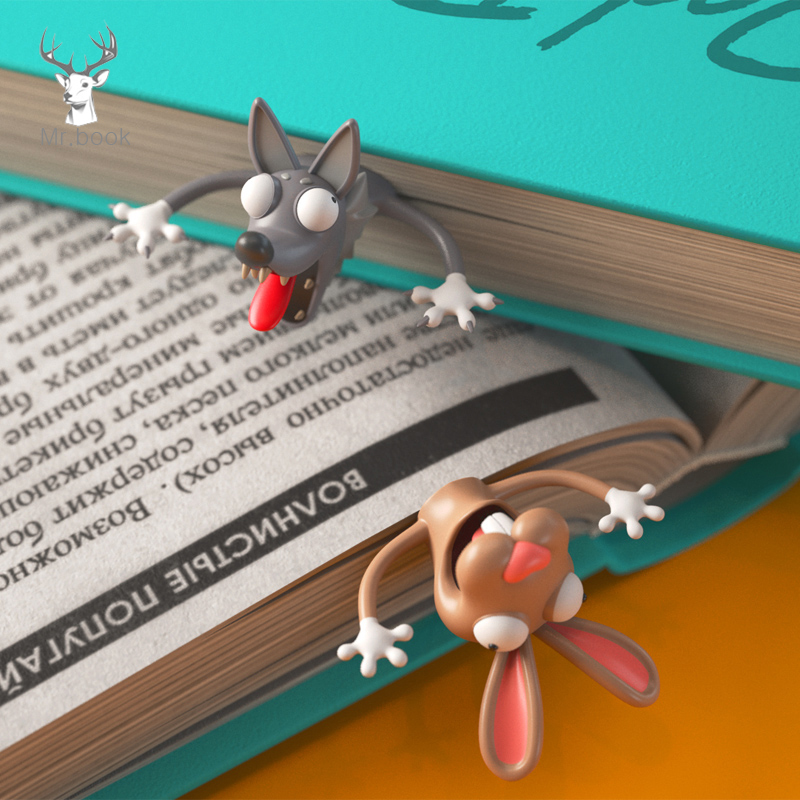 Cute 3D Animals Squashed Cat Rabbit Mouse Bookmarks Creative Wolf Book Marks For Kids Girls Gift Office School Kawaii Stationery