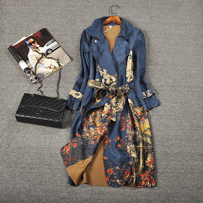 2019 Autumn   Trench   Coat Women Vintage Floral Print Suede Windbreaker Ladies Plus Size 3XL Loose Long Fashion With Belt Outerwear