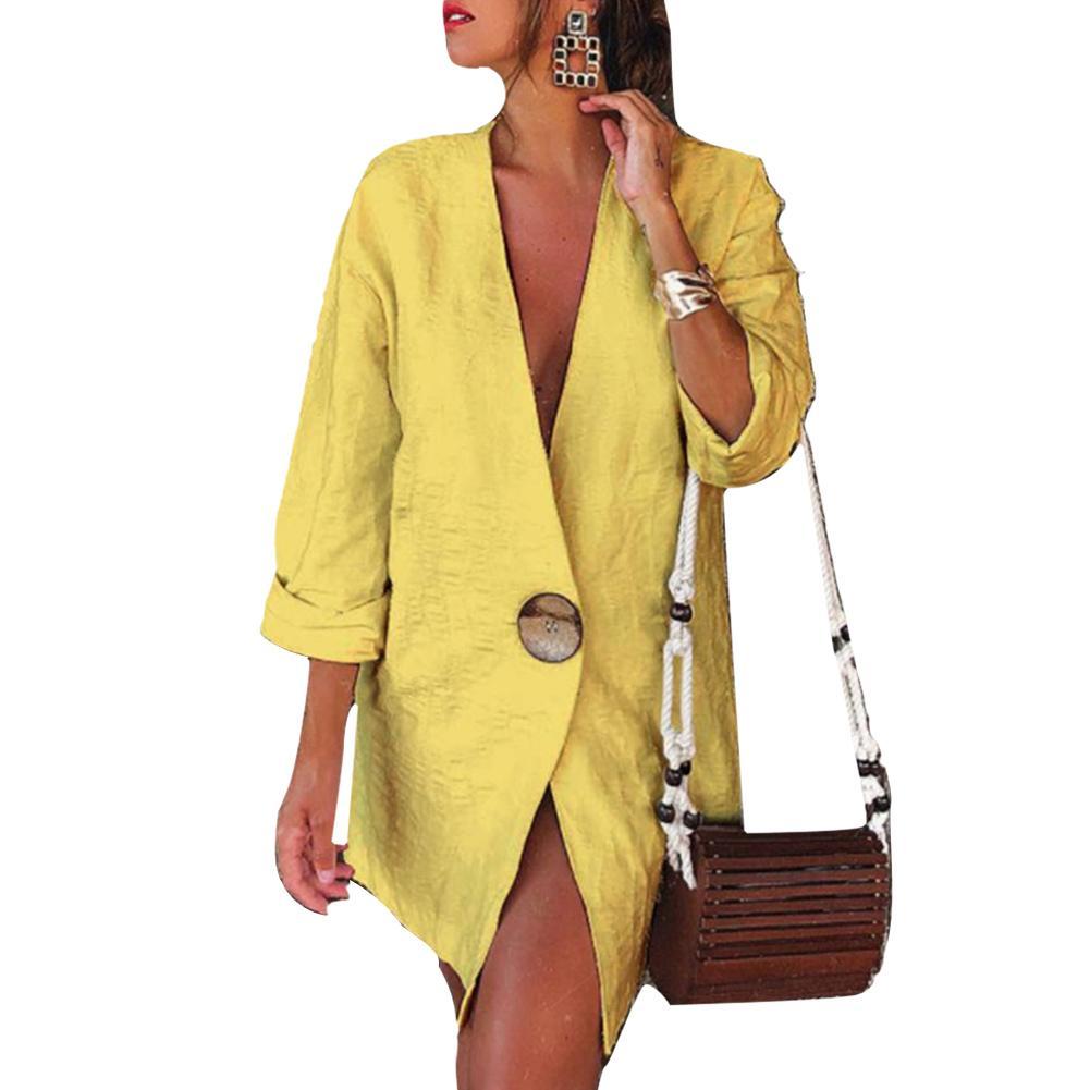 Casual Women Autumn Solid Color Long Sleeve One Button Cotton Linen Loose Blazer woman winter jacket coat 2020
