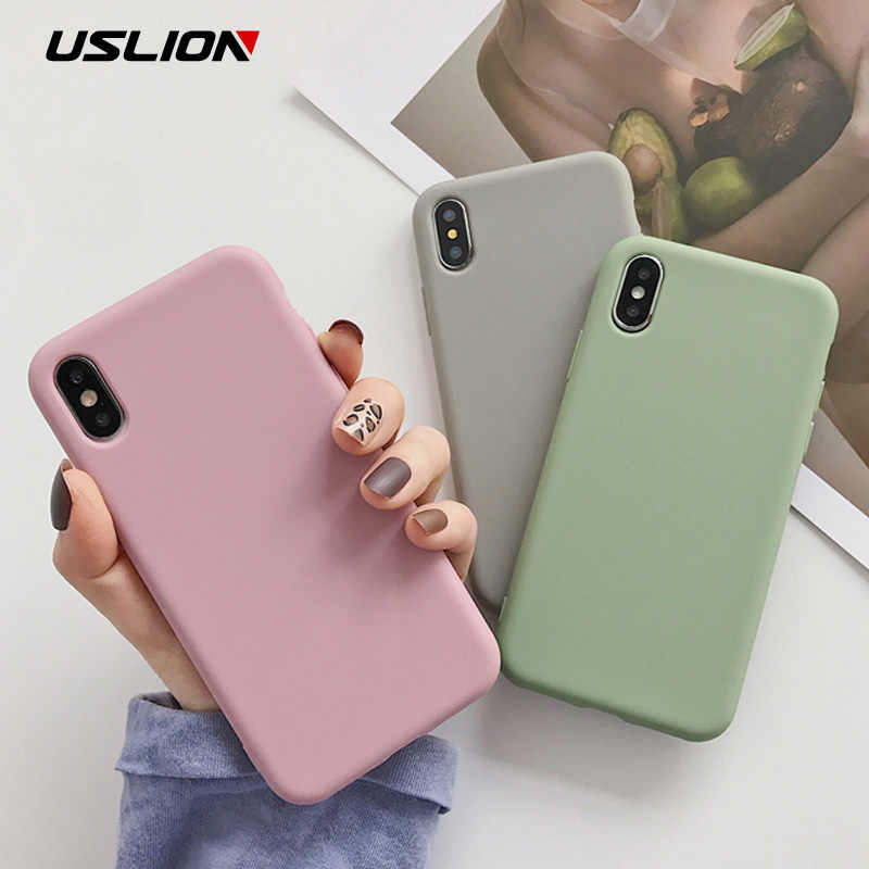 USLION Candy Color Phone Case For iPhone XS 11 Pro Max XR XS Max X 11 8 Plus Simple Plain Silicone Cover For iPhone 6 6S 7 Plus 11 Pro Soft TPU Case