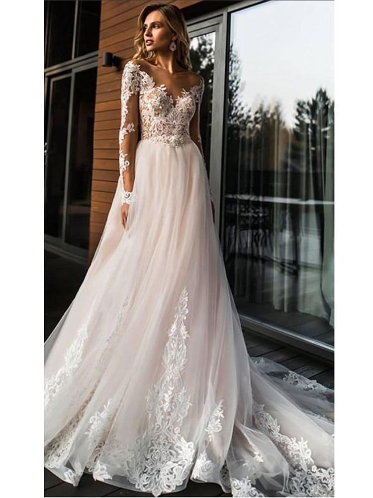 Wedding-Dress Vestidos-De-Novia A-Line Elegant Simple Lace Romantic Floor V-Neck Length