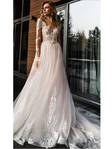 Wedding-Dress Vestidos-De-Novia A-Line Romantic Lace Elegant Simple Floor V-Neck Length
