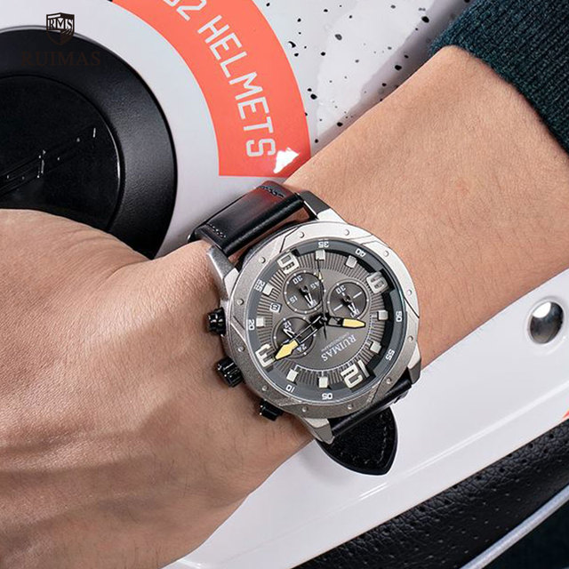 RUIMAS Men's Chronograph Black Leather Relogios 595