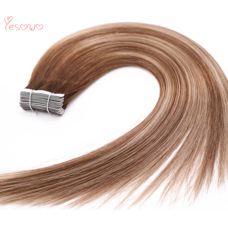 Yesowo #4/24/4 Highlight Double Drawn Human Hair Extentions With Tapes In 14Inch Straight 100 Real Hair Extensions