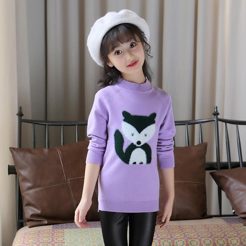 Brands Baby Girls Sweaters Winter 2019 New Girl Long Sleeve Knitted Clothes Kids Autumn Cartoon Fox Sweater for Girls in Sweaters from Mother Kids
