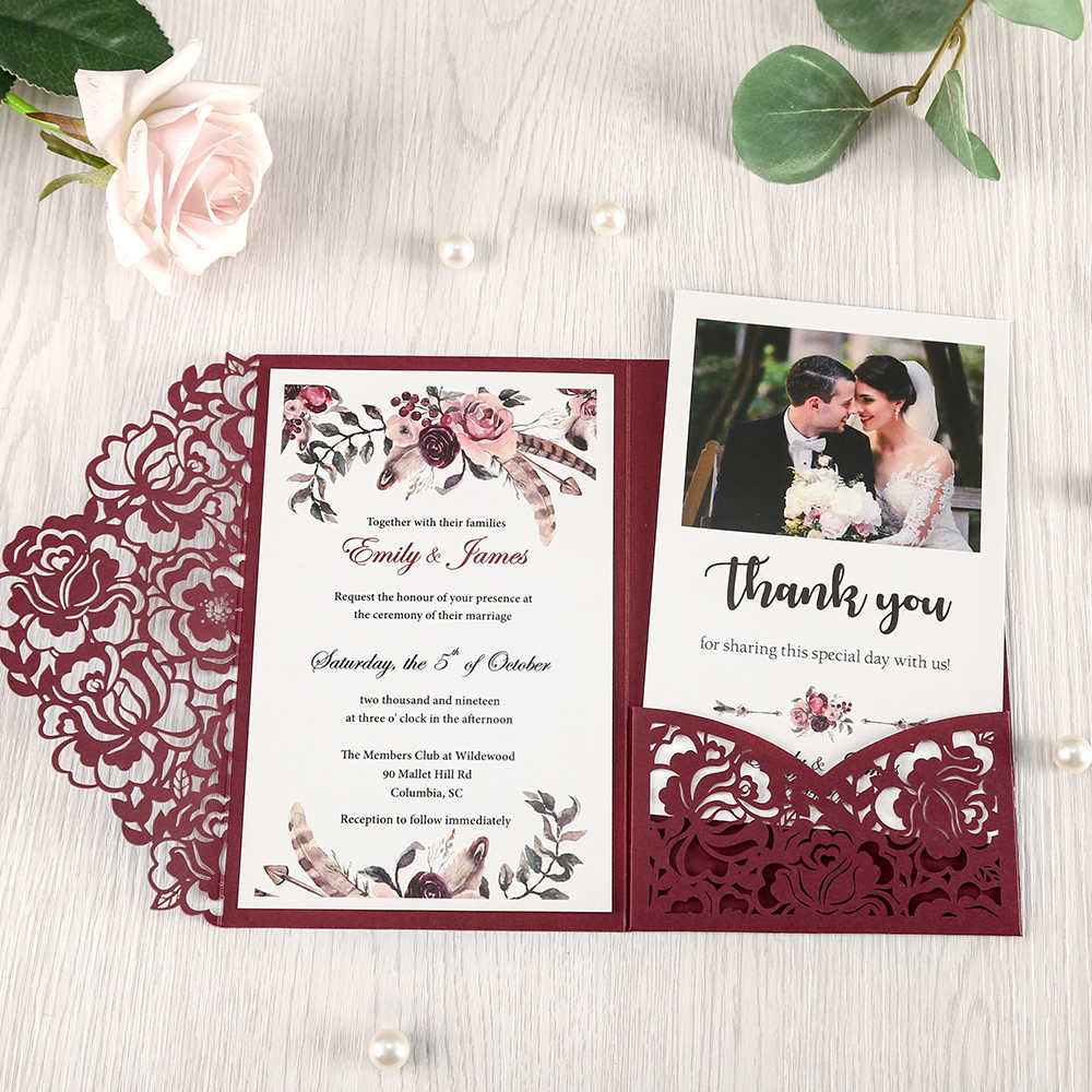 100pcs Burgundy Laser Cut Floral Invitation Cards For Wedding Party Quinceanera Anniversary Birthday Cw0008