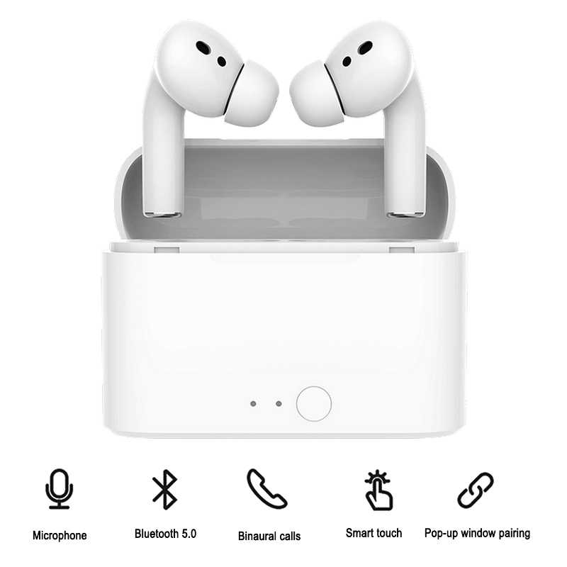 Airpodering Pro Bluetooth Earphone Nirkabel Earbud Kebisingan Pengurangan Headphone dengan Mic Sport Headset untuk Android IOS Smart Ponsel