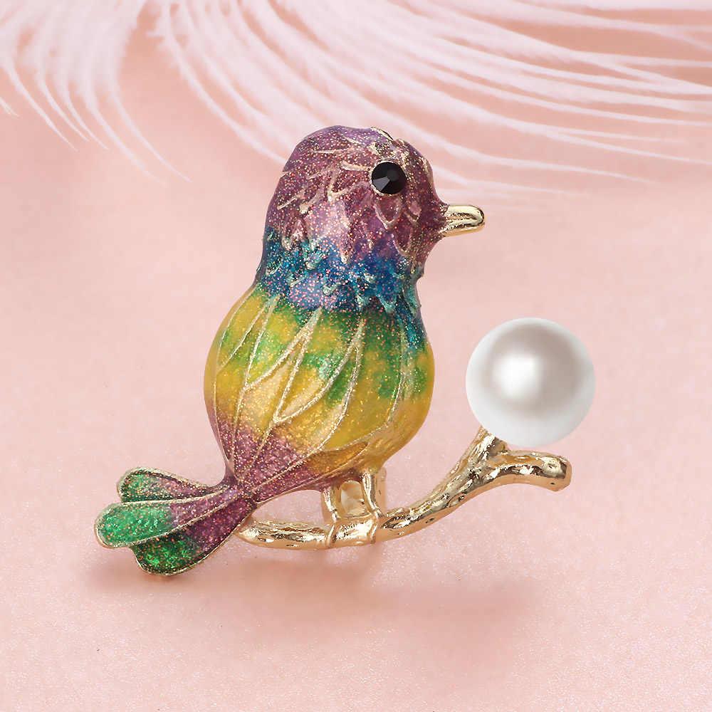 FARLENA ジュエリーファッションエナメル鳥ブローチバッジエレガント模擬パールブローチ女性のためのスカーフピン