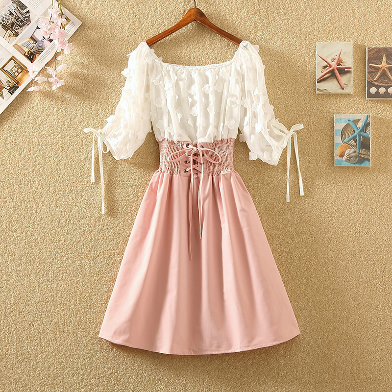 Women's Summer Fairy Off-Shoulder Bandage Lace Up Bow Dresses Elegant A-Line Party Dress Mujer Vestido