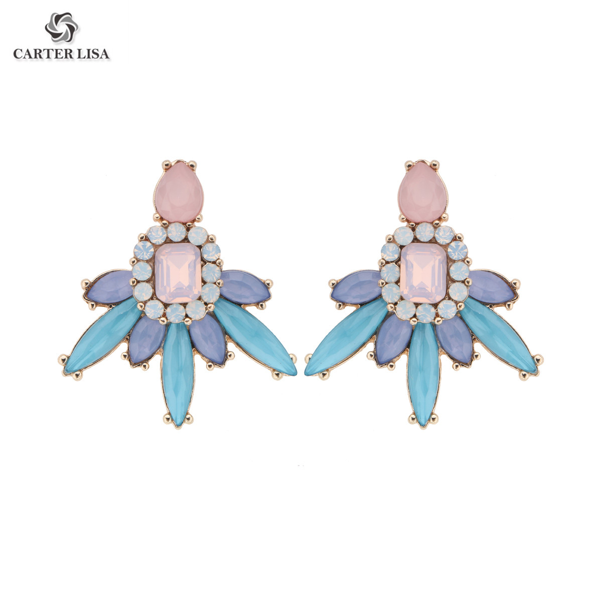 CARTER LISA Fashion Colorful Crystal Statement Stud Earrings For Women Earrings Factory Wholesale Jewelry