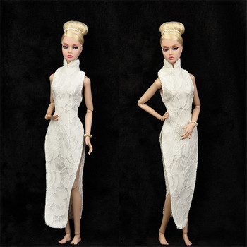 Elegant White Qipao Dress Outfit Set for Barbie 1/6 30cm BJD FR Doll Clothes Accessories Play House Dressing Up Toys Gift fur coat dress outfit set for barbie 1 6 bjd sd doll clothes accessories play house dressing up costume