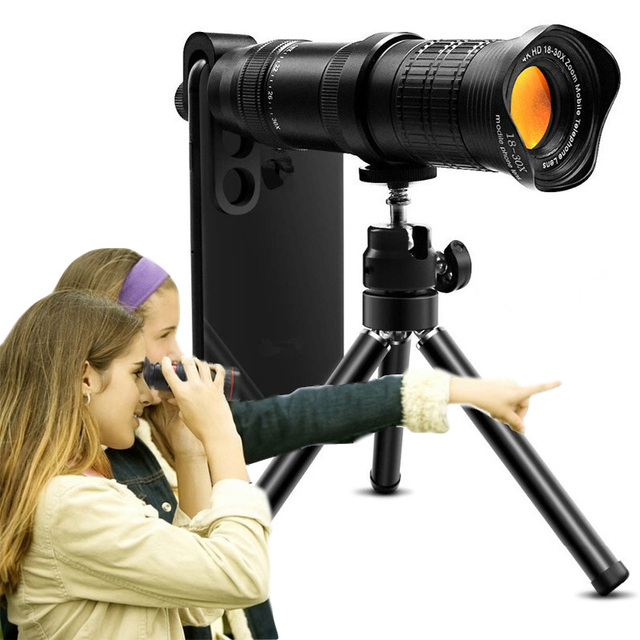18 30X hdプロ携帯電話カメラ望遠鏡レンズiphone xiaomi調節可能な望遠ズームレンズスマートフォンlentesキット