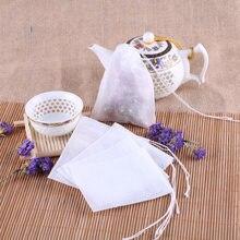 100 pces saquinhos de chá perfumados vazios 5.5x7cm com corda curar selo filtro de papel erva tempero chá solto utensílios de cozinha