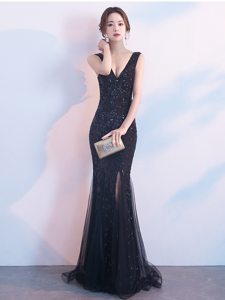 Купить с кэшбэком Sleveless Evening Dresses Elegant Mermaid Formal Dress Tull Sequind Prom Gown  Lace Robe De Soriee Long Evening Party Dress