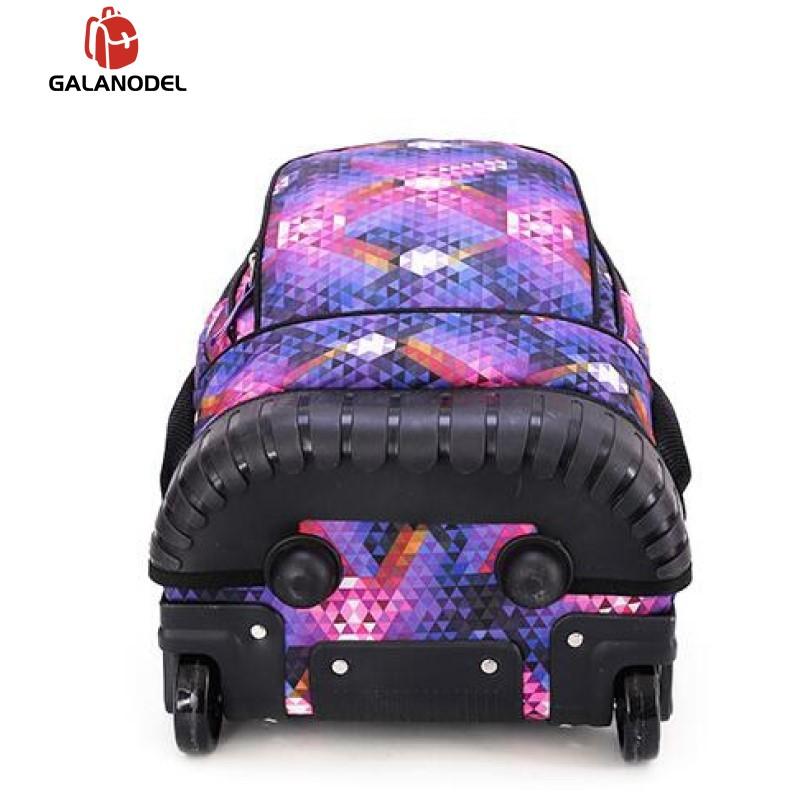 18 Inch Rolling Backpack Travel School Backpacks on Wheel Trolley SchoolBag for Teenagers Boys Children School Bag with Wheels - 5