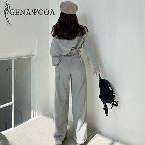 Image 2 - Женский спортивный костюм genayoa, повседневный Весенний костюм из 2 предметов, комплект из двух предметов в Корейском стиле, топ и штаны, топы с открытыми плечами, костюмы 2020