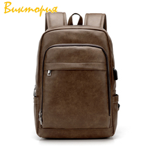2019 Men/Women Simplicity backpack leather Leisure Business Vintage Style Travel waterproof Wear-resisting school