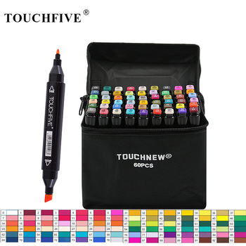 TouchFIVE 30/40/60/80 Colors Art Markers Alcohol Based Markers Drawing Pen Set Manga Dual Headed Art Sketch Marker Design Pens 1pcs colored art markers dual brush marker pen drawing pen manga marker design pens art painting pens school stationery 96 color
