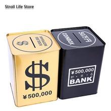 Kreatywne skarbonki skarbonka metalowa złota moneta Box duża dorosłych kasa kwadratowa skarbonka na papierowe pieniądze prezent 365 dni FP060