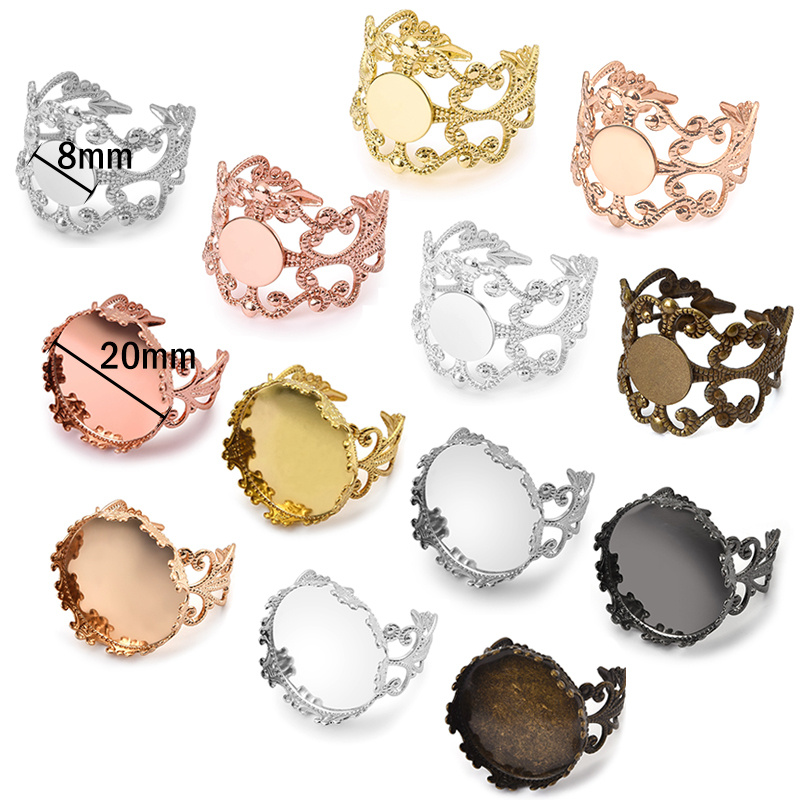 10pcs Metal Adjustable Ring Base Settings Fit 8/20mm Glass Cabochons Blanks Ring Cameo Bezel Tray DIY Jewerly Making Findings