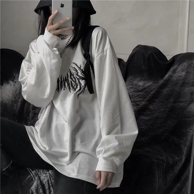 Женская Осенняя Одежда Корейская версия Instagram РЕТРО ПРИНТ дикая свободная футболка bf с круглым вырезом и длинным рукавом белая рубашка