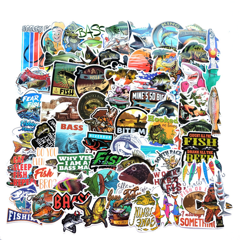 65PCS Funny Fisherman Go Fishing Stickers For Laptop Suitcase Freezer Vinyl Car-styling DIY Decoration Decals Car Sticker