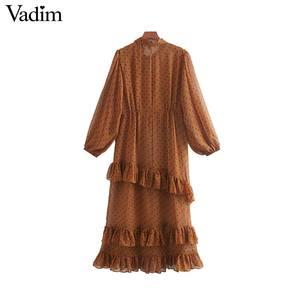 Image 2 - Vadim mujeres lazo collar puntos estampado midi vestido manga larga Mujer volantes vestidos elegante dos piezas conjunto vestidos QC778