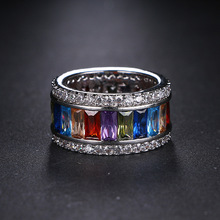 MECHOSEN Luxury Colorful Round Shiny CZ Zircon Ring Stackable Jewelry Party Festival Ladies Daily Fashion Rings Accessories 2019