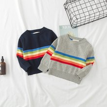Cute -6T Sweater Boys Girls Clothes Casual Knit Round Neck Pullover Color Stripe Bottoming Shirt Winter(China)