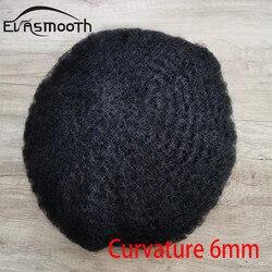 6mm perucas para homens negros cabelo humano encaracolado homens peruca do plutônio & laço homem tecer cabelo masculino unidade 8x10inch cabelo sistema de substituição