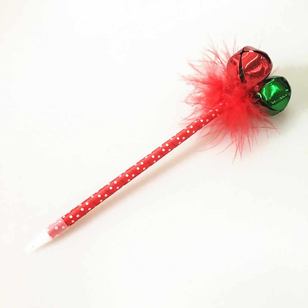 عيد الميلاد قلم حبر جاف لونين كبير جرس ريشة قلم حبر جاف جميل نحيل قلم حبر جاف مع الريش و أجراس 25 سنتيمتر