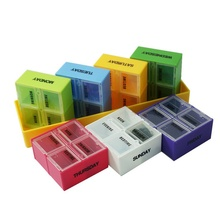 Safely Practical Portable 7 Days 28 Grids Pill Storage Boxes Bins Colorful Rectangular Plastic Box Household Cases