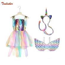 цена на Halloween Christmas Girls Unicorn Costume Headband Pony Rainbow Tutu Dress Disfraz Unicornio Gold Wings Set for Kids Halloween Theme Party Dress