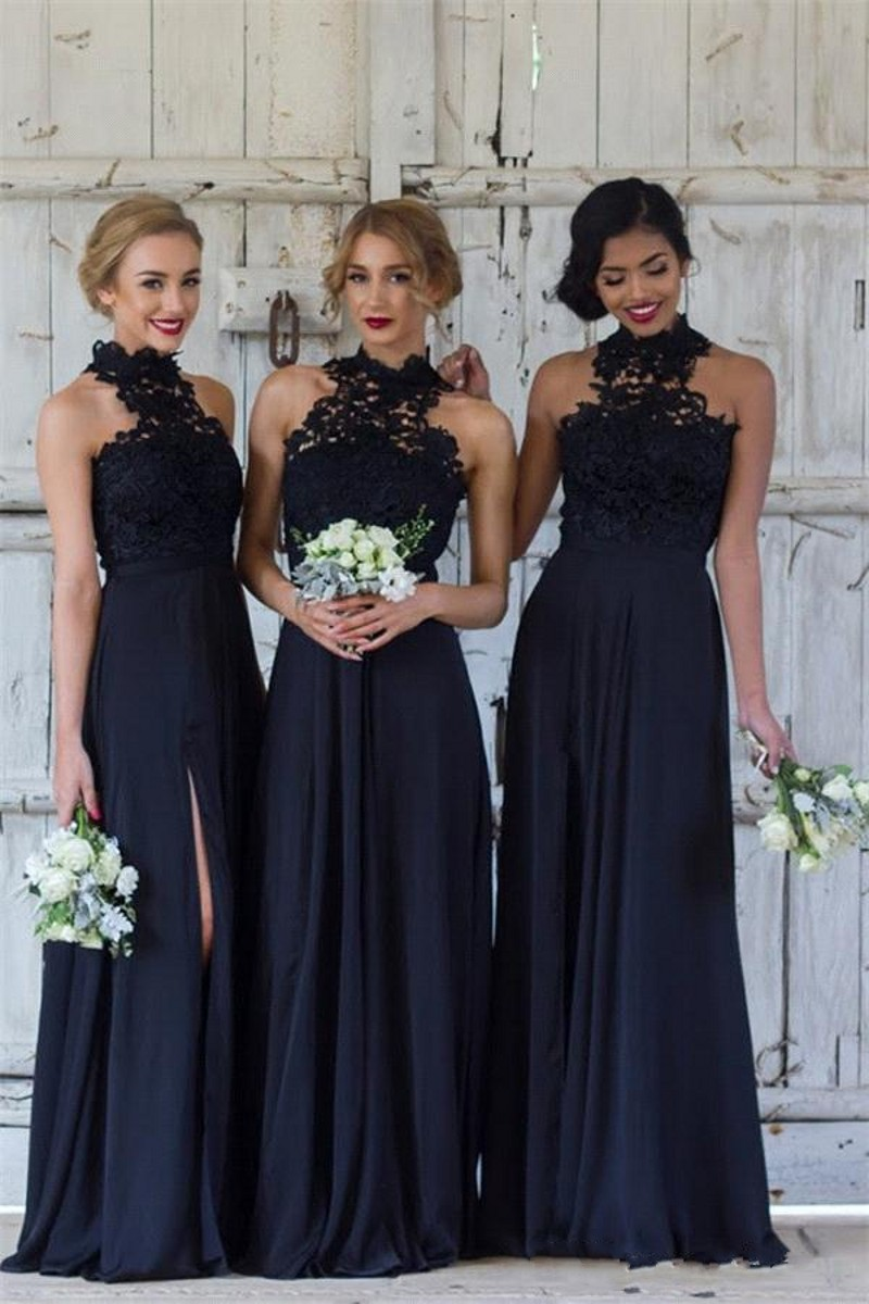 Elegant Black Bridesmaid Dresses Long High Neck Lace Chiffon Split Maid Of Honor Gowns Wedding Party Dress