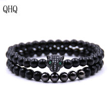 QHQ bracelets bangles charm chain accessories jewelry personalized couple braclet female cubic zirconia beads men women gifts(China)