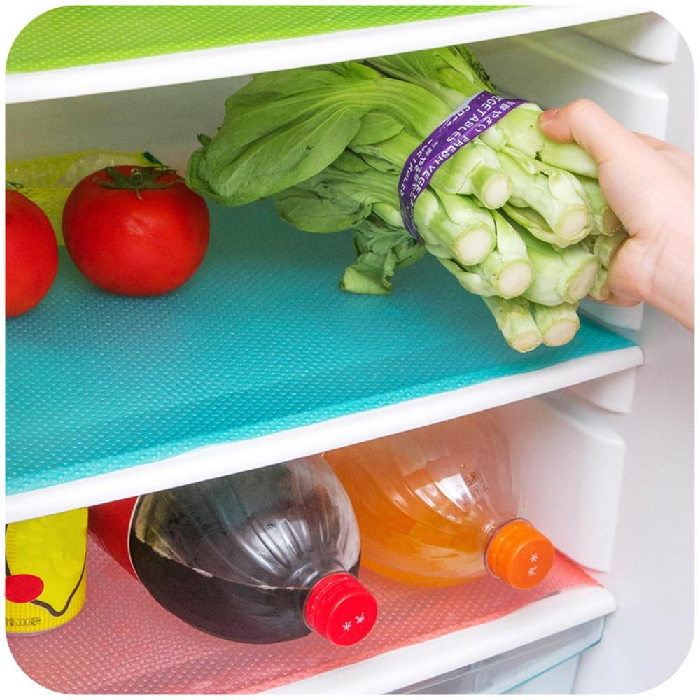 4Pcs Multifunktions Kühlschrank Pads Wasserdicht Gemüse Obst Küche Tabelle Matte