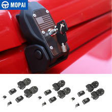 MOPAI أقفال هود ل رانجلر JK محرك السيارة هود مزلاج الصيد مع مفتاح قفل ل جيب رانجلر JK 2007 2017 الملحقات الخارجية