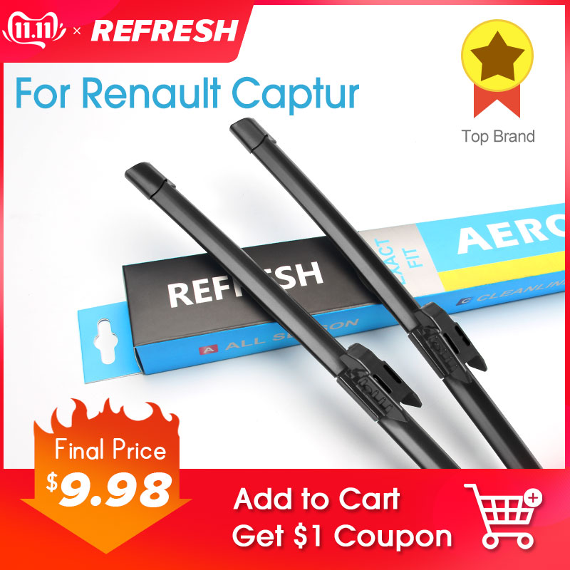 REFRESH Windscreen Wiper Blades for Renault Captur ( Kaptur ) Fit Bayonet Arms / pinch tab arms 2013 2014 2015 2016 2017 2018-in Windscreen Wipers from Automobiles & Motorcycles